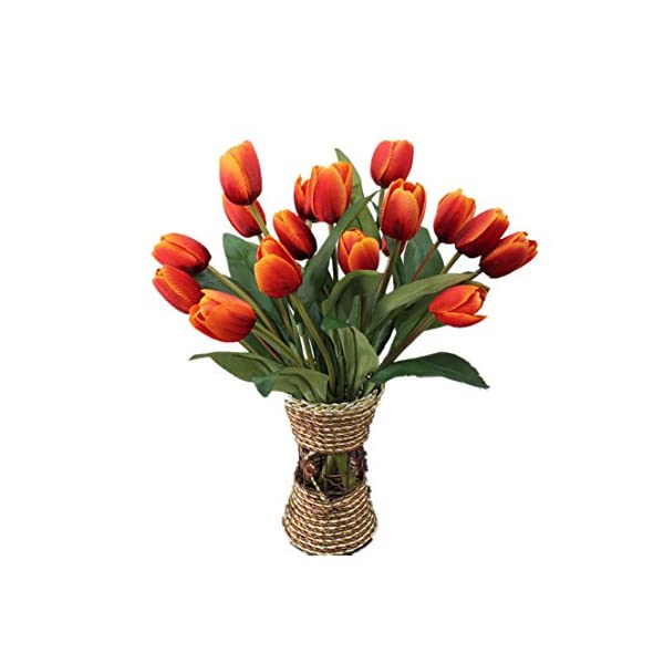 Mynse 2 Pieces 9 Heads Fake Silk Tulips Flower for Home Furnishing Living Room Decoration Shooting Props Artificial Tulips Flower Bouquet Deep Orange