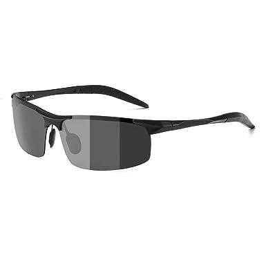 ZealBea Focus Polarizadas Gafas de Sol, UV400 Protege Lentes con Lente fotocromática, Aleación de Al-MG, Bisagra de Resorte, Gafas Ligeras para ...
