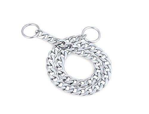 Reopet Chain Dog Slip Choke Collar - Chormed Steel Chain with Heavy Duty O Ring - 3.5mm24 - Fits Large Dogs - Heavy Duty Choke Chain