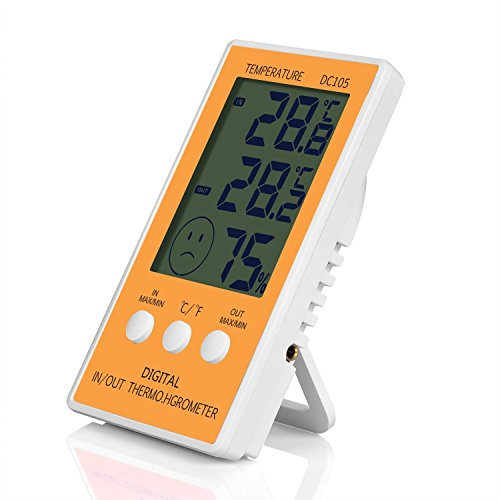 JLENOVEG Digital Hygrometer Indoor Thermo-Hygrometer Max/Min Records Digital Large LCD Indoor Outdoor Weather Humidity Hygrometer Thermometer Meter Gauge Comfort Home Office (Yellow) by JLENOVEG