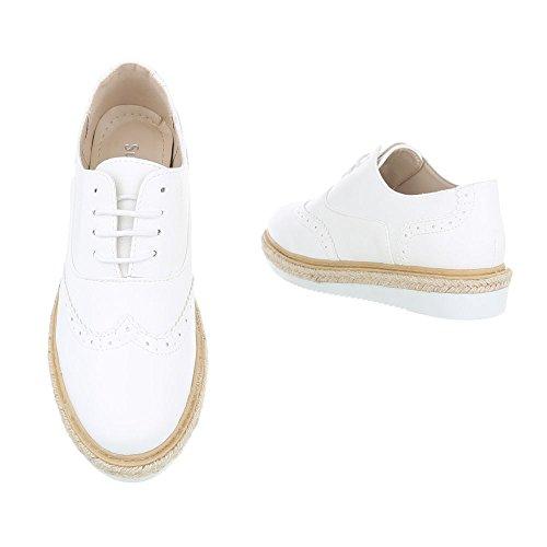 Mujer Zapatos Design con 62022 Ital Planos Cordones Weiß wAfq5X5R