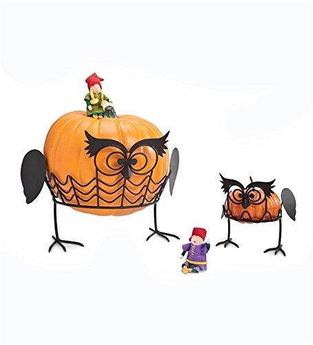 Plow & Hearth Pumpkin Holders Display Stand, Halloween Decoration (Owls)