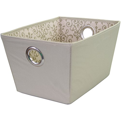 Storage Basket, Durable Open Tapered Polyester Canvas Storage Bin with Built-in Handles, Olive, Filigree Print, (Tapered Storage Basket)