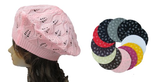 OPT. Wholesale 12 Pieces Crochet Knit French Beret Tam Hat.