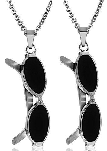 Daesar Hers & Hers Necklace Set Couples Stainless Steel Lovers Sun Glasses CZ Pendant - Sunglasses India Wooden