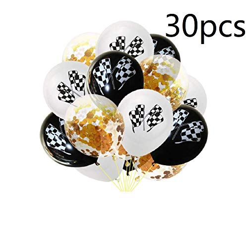30pcs Checkered Racing Car Balloons Flag Latex Balloons Confetti Balloons for Race Car Themed Birthday Party Decor 12inch - Golden
