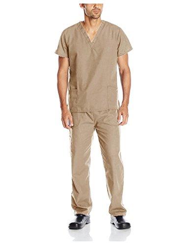 G Med Unisex Scrub Set V-neck Top and Pant 2 PC Set(MENSET-MED,LBN-XS) (Scrubs Nursing Sleeve)