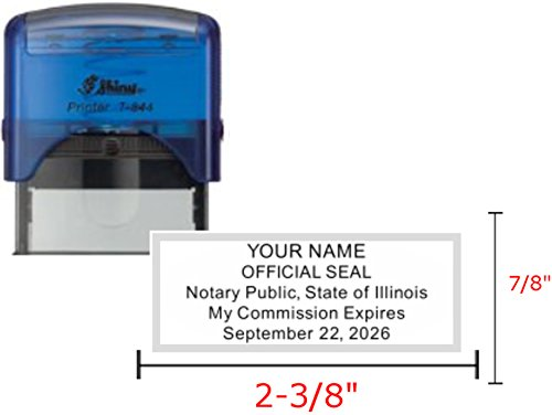 Shiny Blue Notary Stamp | Self Inking, Printer S-844, 2.3x0.81 inch Prints | Illinois by Hubco