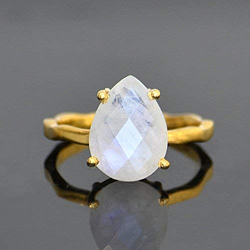 Rainbow Moonstone Prong Set Ring, Vermeil Gold or Sterling Silver, teardrop ring, June Birthstone ring