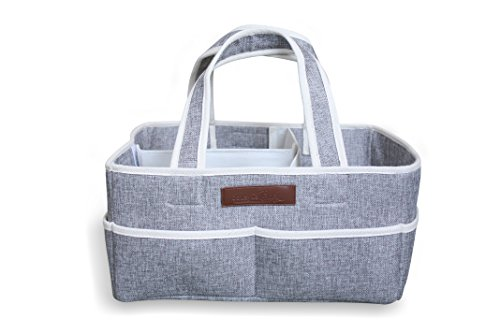 2 Drawer Changer (Diaper Caddy Organizer by JoLayLe Baby │Premium Quality Collapsible Storage Basket for Your Changing Table │ The In-Home Diaper Bag│ Gender Neutral Gray perfect for any Nursery)