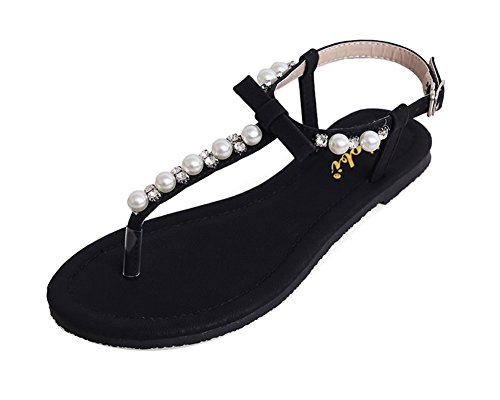 Women's Strappy Rhinestones String Thong Buckle Ankle Strap Flat Sandals Clip Toe Black XsfhYQVo