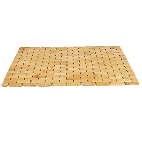 Mind Reader BAMAT-BRN Luxury Roll Up Shower Bath Mat, Anti-Slip Mat, Environment Friendly Bamboo, Brown (Anti Slip Mats Bath)
