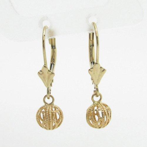 womens bp57 fancy earrings 14K yellow gold italian ball stud huggie hoop by IcedTime