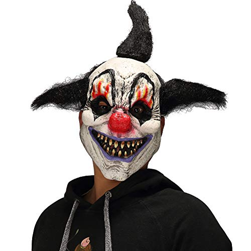 Mo Fang Gong She Scary Demon Halloween Cosplay Props Horror Black Flame Men's Wizard Clown Mask]()