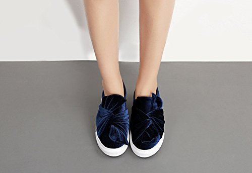 Slip Aisun Damen Durchgängig Retro Zehen Plateau Schleife On Flach Runde Blau Sneakers Samt wZdwnrqcWz