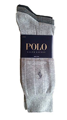 (Polo Ralph Lauren Men's 3 Pack Ribbed Dress Socks (Assorted)
