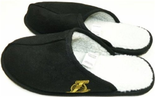 Forever Collectibles Los Angeles Lakers NBA High End Open Back Slide Slippers - Faux Fur Lined (Small 7-8)