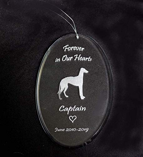 Glass Dog Memorial Personalized Sun Catcher Pet Loss Oval Etched Clear Window Art