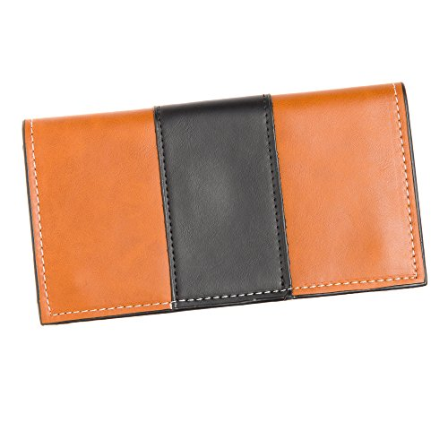 - Faux Leather Wallet Women's Contrast (Brown with Black)