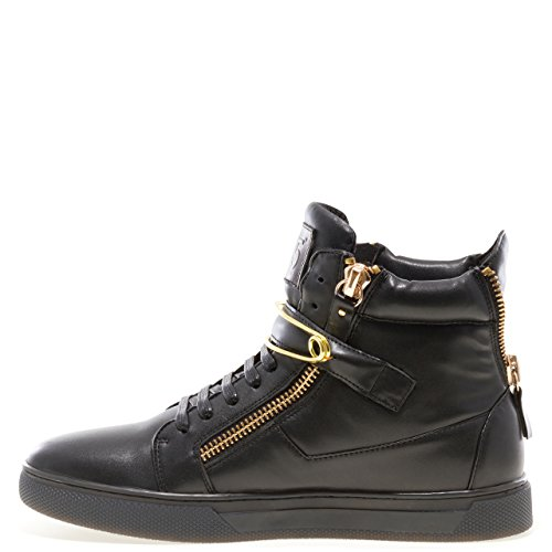 Jump J75 Men's Zion Round Toe Rhinestone Strap Lace-Up High-Top Sneaker Black Pin BQyaF064