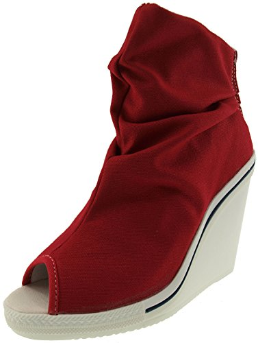 Maxstar Women's 777 Open Toe High Wedge Heel Canvas Ankle Booties Red 8 B(M) US (Canvas Open Toe Wedge Heel)