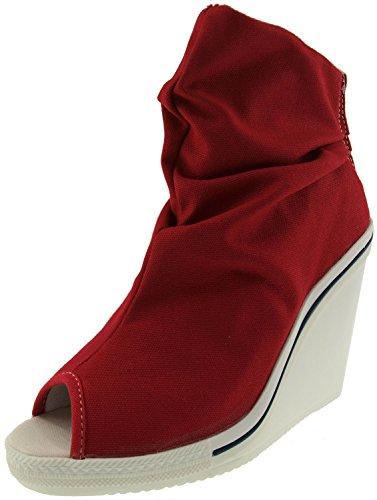 Maxstar Women's 777 Open Toe High Wedge Heel Canvas Ankle Booties Red 8 B(M) US (Canvas Open Toe Wedge Heel)