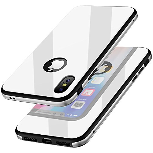 KADES Compatible for iPhone X Case Protective Tempered Glass Case with Premium Shockproof and Anti-Scratch Phone Case Compatible for Apple iPhone X - White [Upgrated Version]