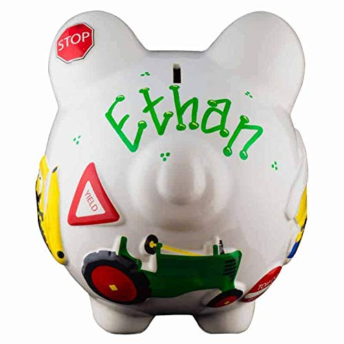 Work Truck Boys Piggy Bank - Large - (Personalized & Custom With Name And Year) (First Financial Toy For Teaching Boys & Girls About Saving Money) (Perfect Unique Gift Idea For Babys 1st Birthday) by HolidayTraditions (Image #1)