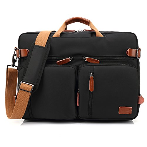 CoolBELL Convertible Backpack Messenger Bag Shoulder bag Laptop Case Handbag Business Briefcase Multi-functional Travel Rucksack Fits 17.3 Inch Laptop For Men / Women (Black)