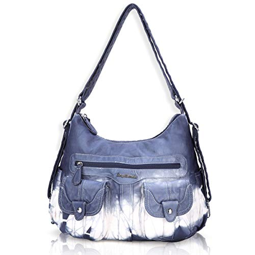Angel Barcelo Women Multifunctional Soft Leather Handbag Purses Shoulder Hobo Backpack Crossbody Zipper Bag with Pocket - Purse Small Hobo