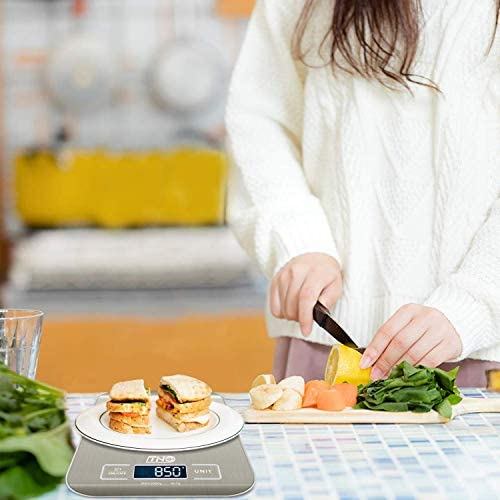 Digital Kitchen Food Scale, TNO Multifunction Stainless Steel Scale, LCD Display, 11LB/5KG, Sliver (Included Batteries) 8