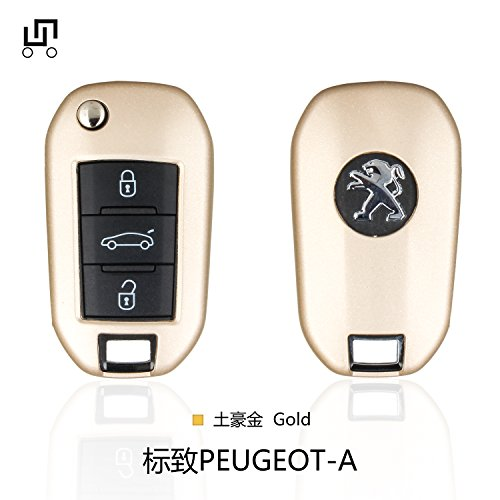 CEYE Car TPU Key Fob Protection Case Cover Shell Box for PEUGEOT 3008 308 5008 508 Citroen: DS3 DS4 DS5 PEUGEOT A (Gold)