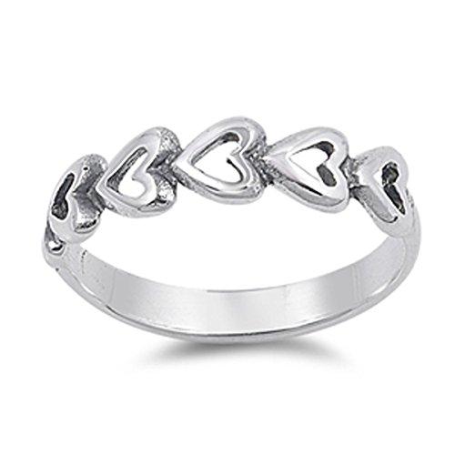 Heart Journey Ring (Sterling Silver Women's Journey Heart Ring (Sizes 1-5) (Ring Size 2))