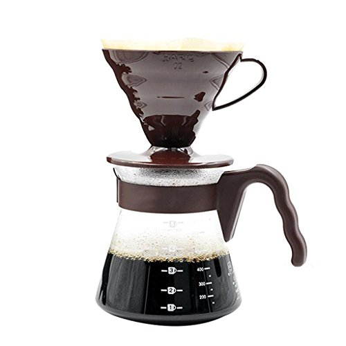 - KAFEIHU Home Office Heat-resistant Glass Drip Coffee Maker Set V60 Series Hand-washed Coffee Set 700ml coffee pot (Color : Brown)