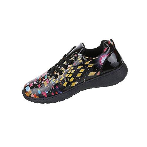 Damen Schuhe Freizeitschuhe Sneaker Slipper Modell Nr.1Schwarz