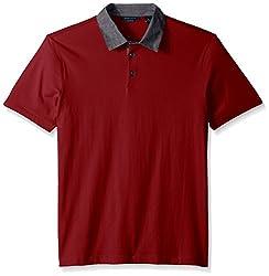 Perry Ellis Men's Pima Chambray Polo Shirt, Biking Red, Small