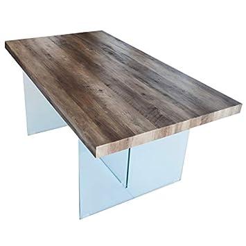 Plateau De Table Bois.Cadentro Table A Manger 200x100 Plateau En Bois Mdf Et