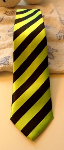 Slim Black & Green Stripe Tie Narrow Thin Skinny Imitated Silk Necktie ()