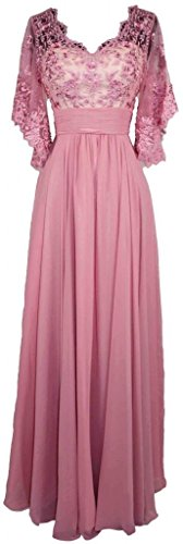 COCOMELODY Women's Column Long Maxi V Neck Embroidery Formal Gown Pink 28