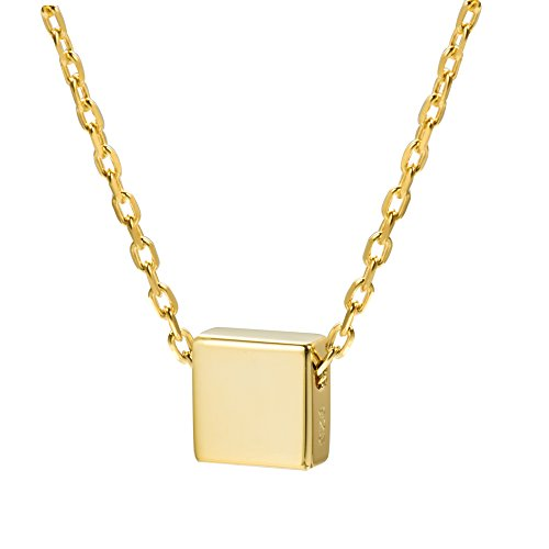 S.Leaf Simple Floating Square Pendant Necklace Silver Cube Charm Necklace (18K gold) (Pendant Square)