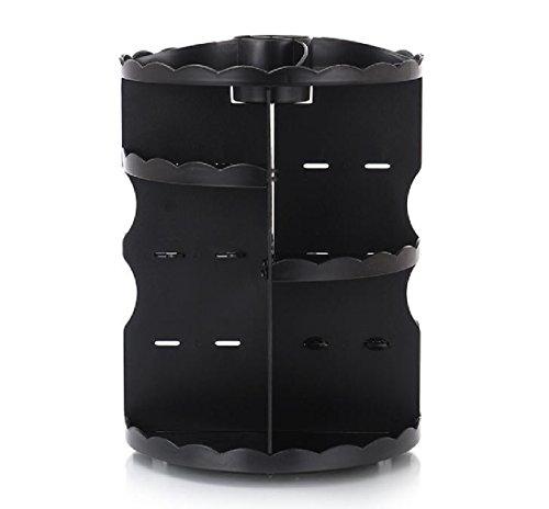 Freely Cosmetics Carousel Vanity Adjustable Round Stylish Holder keep Dresser Bathroom Organized Multi-function Make Up Caddy Spinning Black One Size by FreelyBeauty
