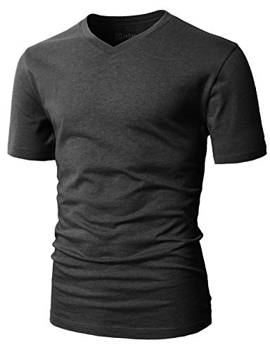 H2H Mens Slim Fit Basic T-Shirts with Short Sleeve and V Neck Charcoal US M/Asia L (CMTTS0197)