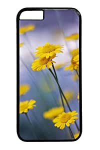 Camomille Flowers Polycarbonate Hard Case Cover for iphone 6 plus 5.5 inch Black
