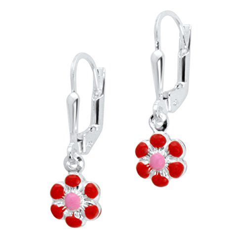 Kids Red Italian Charm (UNICORNJ Sterling Silver Childrens Earrings Leverback with Enamel Red and Pink Flower)