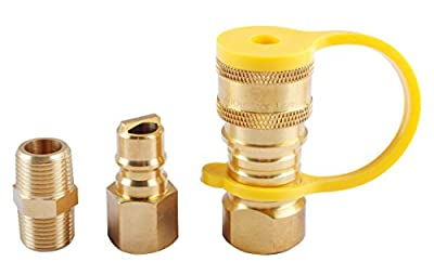 """Podoy Propane Natural Gas Quick Connect Adapter Kit - 3/8"""" Male Flare Quick Disconnect X 3/8"""" Female Pipe Thread Fittings - 100% Solid Brass for BBQ Grills and Portable Camp Stove"""
