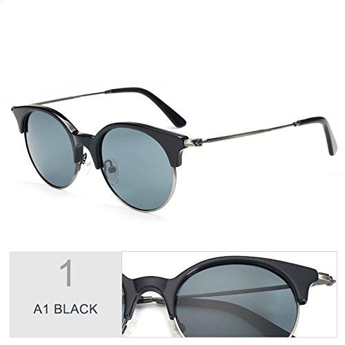 A1 BLACK Del Gafas Azul Polarizadas TIANLIANG04 Sin De Clásico Reborde Solo Bastidor De Traje Sol Gafas R32 Sol Puente Semi Gafas 0RAFH0f