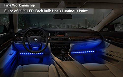 Led Per Auto Interni.Justech Car Led Strip Lights 4pcs 48leds Multicolor Music
