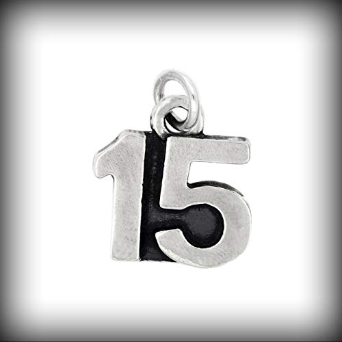 Sterling Silver Oxidized Sweet 15 Number 15 Charm Quincea?era Pendant Vintage Crafting Pendant Jewelry Making Supplies - DIY for Necklace Bracelet Accessories by CharmingSS