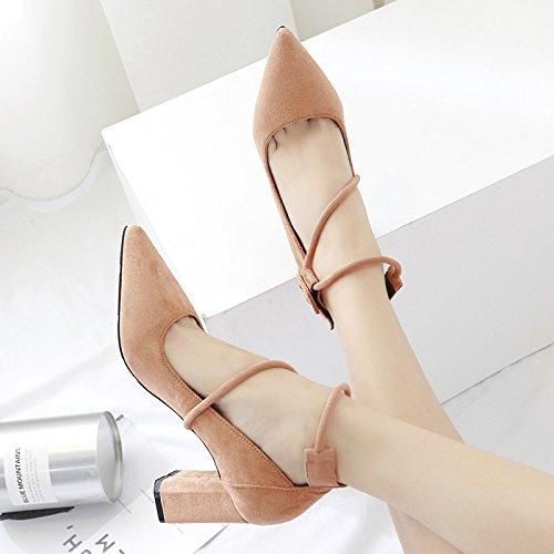 Treinta y alto Zapatos único de altosKhakiTreinta talon tacon superficial y superficial Tacones anillo seis de punta señaló zapatos gamuza cinco GTVERNH UH0wqAA