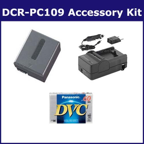 Sony DCR-PC109 Camcorder Accessory Kit includes: DVTAPE Tape/ Media, SDNPFF70 Battery, SDM-102 Charger ()
